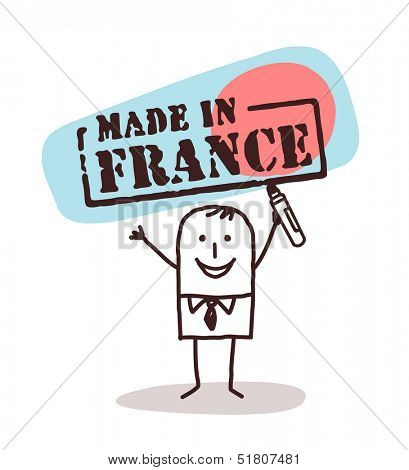 man with made in France sign