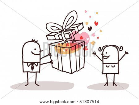 man in love giving a present to a woman