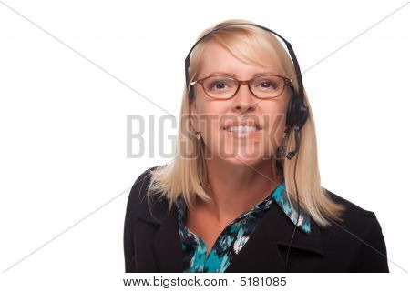 Beautiful Blonde Customer Support Woman With Headset