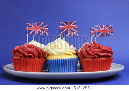 English Theme Red, White And Blue Cupcakes With Great Britain Union Jack Flags For National Party