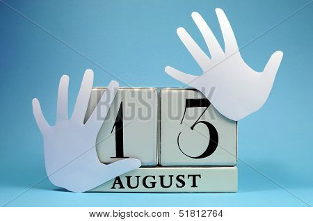 Save The Date Calendar For International Left Handers Day On August 13, With With Block Calendar And