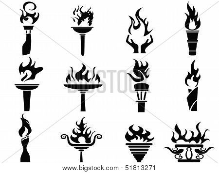 Black Fire Flame Torch Icons Set