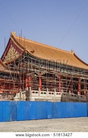 Forbidden City And Scaffolding