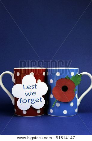 Commemorate November 11, Remembrance Day, Armistace Day, With Red, Blue And White Them Coffee Tea Cu