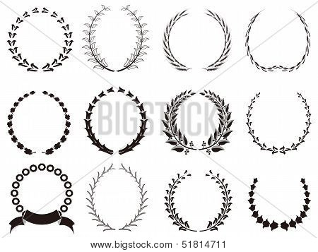 Set Of Black Laurel Wreaths