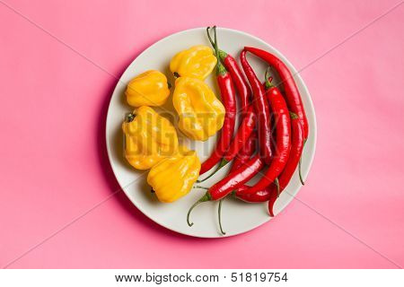 top view of chili peppers and habanero on plate on pink background