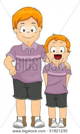 Illustration of Male Siblings Wearing Shirts of the Same Color and Design
