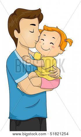 Illustration of a Doting Father Kissing His Baby on the Cheek