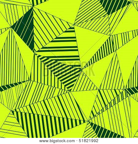 Colorful abstract geometric triangles seamless pattern in neon green, vector