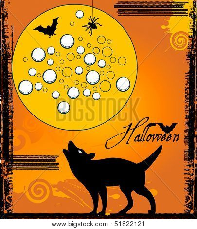 Wolf howling at the moon  Halloween