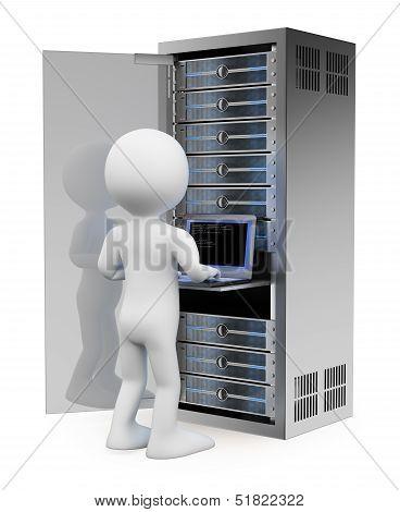 3D White People. Engineer In Rack Network Server Room