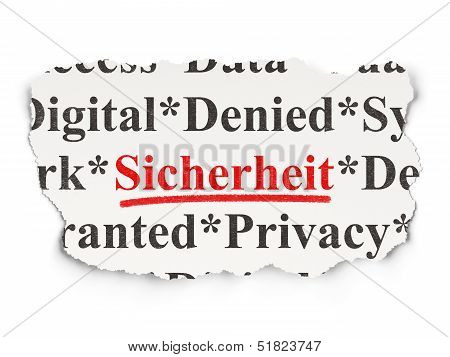 Protection concept: Sicherheit(german) on Paper background