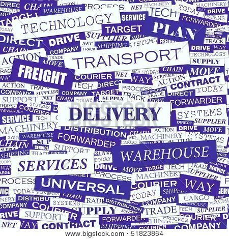 DELIVERY. Word cloud illustration. Tag cloud concept collage. Vector text illustration.