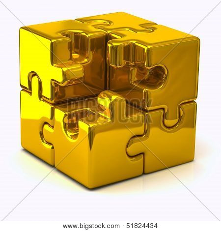 Gold puzzle cube without one piece