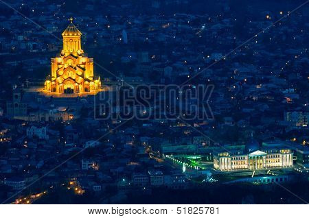 Holy Trinity Cathedral Of Tbilisi At Night