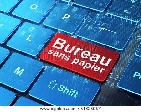 Finance concept: Bureau Sans papier(french) on computer keyboard