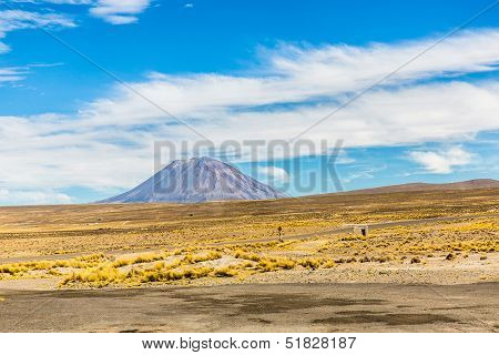 Volcano. The Andes, Road Cusco- Puno, Peru,south America. 4910 M Above. The Longest Continental Moun
