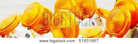 Bright orange flashers for road work