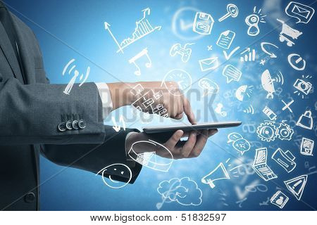 Businessman Working With Tablet And Social Media