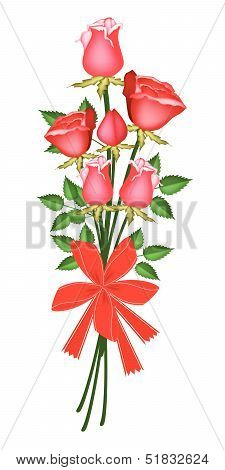 Red Rose Bouquet with Red Ribbon