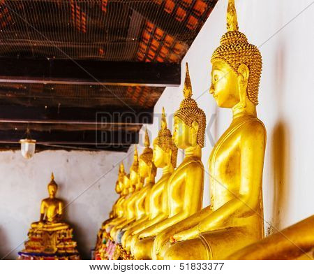 Golden buddha statue in row