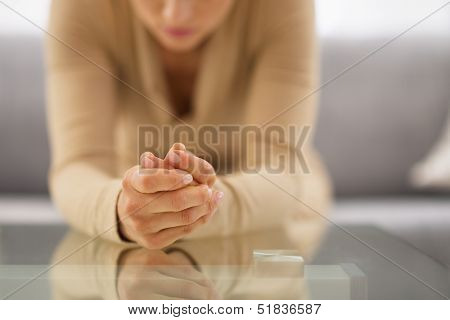 Closeup On Hands Of Stressed Young Housewife