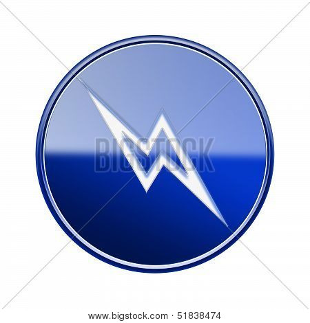 Lightning Icon Glossy Blue, Isolated On White Background.