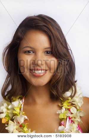 Portrait Of A Hawaiian Girl With Flower Lei