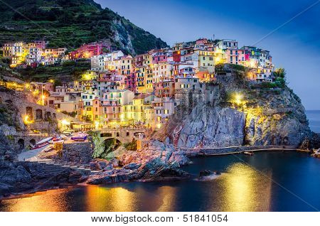 Scenic Night View Of Colorful Village