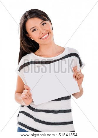 Happy woman with a banner - isolated over a white background