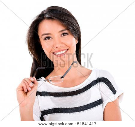 Happy woman holding glasses - isolated over a white background