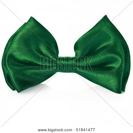 Green ribbon  bow tie isolated on white background