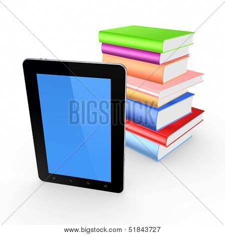 Tablet PC and stack of books.