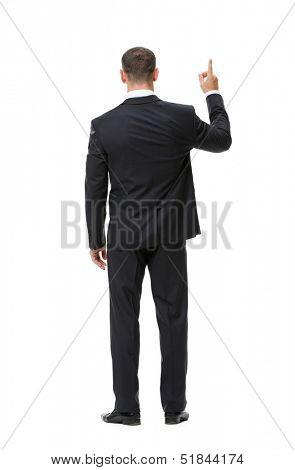 Full-length backview portrait of businessman attention gesturing, isolated on white. Concept of leadership and success