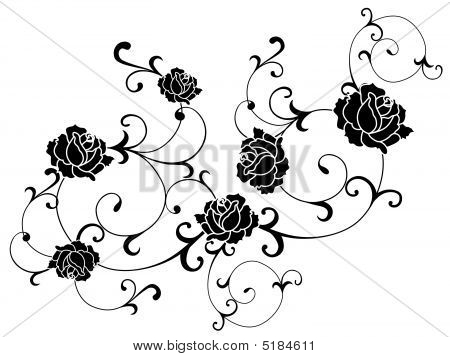 Rose Tattoo. Black and white Vector illustration of rose tattoo