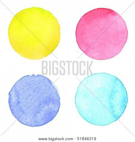 Watercolor circles collection. Watercolor stains set isolated on white background. Watercolor palette.