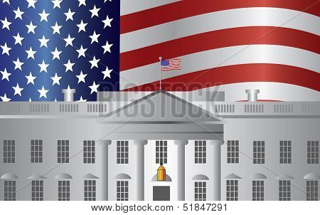 Washington Dc White House Us Flag Background