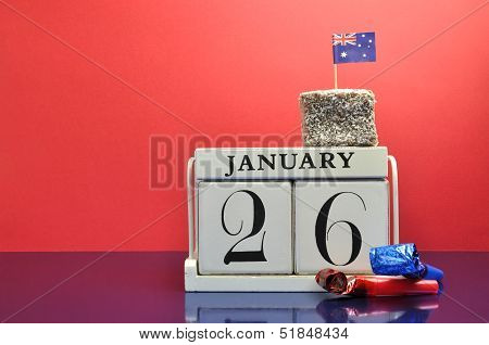 Mark The Date, Australia Day January 26, With This Beautiful White Calendar Clock With Australian La