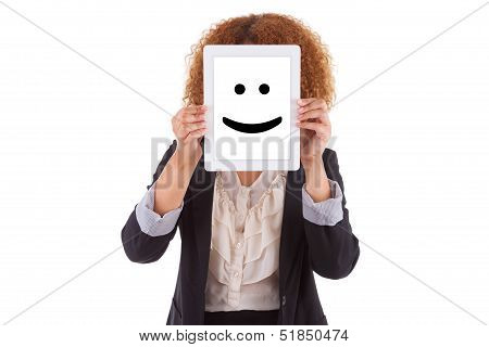 African American Business Woman Holding A Tactile Tablet Displaying A Smiling Emoticon - Black Peopl