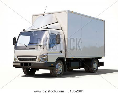 White commercial delivery truck on a ligth background with shadow
