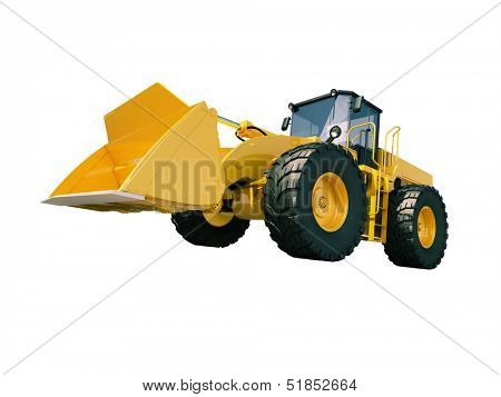 Modern front loader isolated on white background without shadow