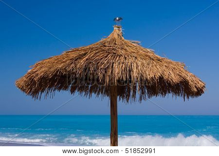 Umbrella on the beach on the  Ionian island of Lefkas Greece