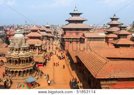 KATHMANDU, NEPAL - JAN 6: Top view of the Durbar Square (Basantapur), Jan 6, 2009 in Kathmandu, Nepal. This is one of the 3th Durbar squares in Kathmandu Valley, all of which are included in UNESCO.