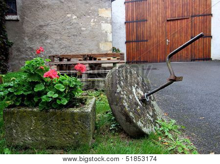 Millstone and Flowers
