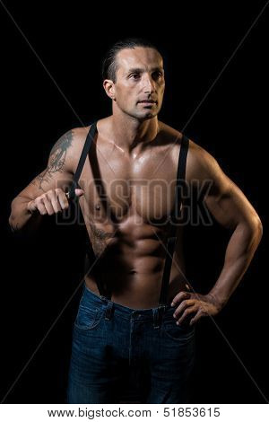 Shirtless Man With Suspenders