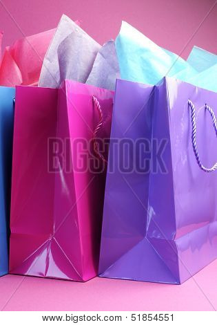 Retail Therapy, I Love Shopping, Concept With Colorful Shopping Bags Against A Pink Background, Vert