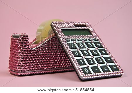 Pretty In Pink Office Bling Accessories, Tape Dispenser And Calculator For A Feminine Touch To Any F