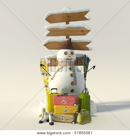 3D rendering of a snowman,  a directional sign ,suitcases, skis, snowboard and boots