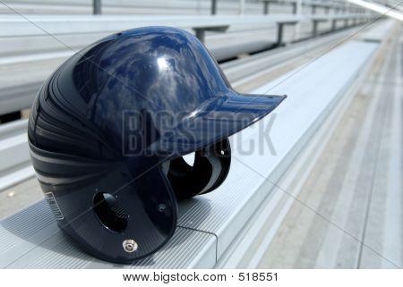 Baseball Helmat On Bleachers