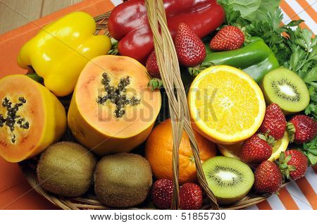 Healthy Diet - Sources Of Vitamin C - Oranges, Strawberry, Bell Pepper Capsicum, Kiwi Fruit, Paw Paw
